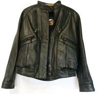 Vtg Harley Davidson Women's Black Vented Riding Biker Leather Jacket SZ 36W EUC