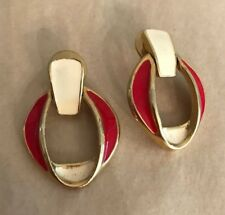 Retro Pierced Earrings Goldtone Red & Cream Enamel Door Knocker Style