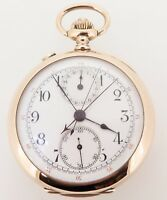 Swiss Made 14K Gold Split Sec Chronograph 30 Min Register Pocket Watch- Serviced