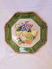 2004 Fitz & Floyd collectible fruit plate hanging plaque green border 3D