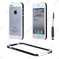 Housse Coque Etui Bumper Noir / Blanc Apple iPhone SE 5S 5 + Mini Stylet