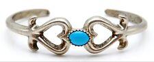 Vintage F.L. BEGAY Sterling Silver / Turquoise Ladys  Cuff Bracelet