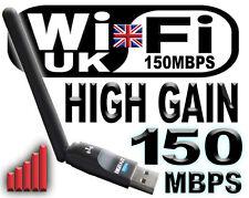 WIFI 150MBPS WIRELESS ADAPTOR 802.11 B/G/N HIGH GAIN AERIAL LAN USB DONGLE
