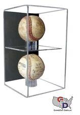 UV Protecting Acrylic Wall Mount Double 2 Baseball Display Case MLB NCAA GameDay