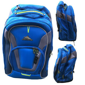 High Sierra AT7 Carry-on Luggage Wheeled Rolling Backpack Blue Travel Weekender
