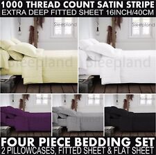 1000TC Egyptian Cotton Fitted Sheet Flat Sheet & 2 Pillowcase Bedding Set STRIPE