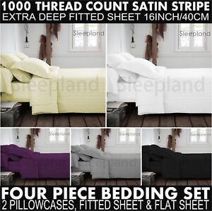 1000 TC Egyptian Cotton King Fitted Sheet Flat Sheet & 2 Pillowcase Bedding Set