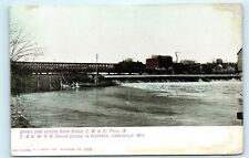 *Upper Dam Rock River Janesville Wisconsin Railroad Vintage Postcard A18