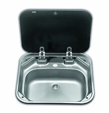 SMEV 8005 Boat Caravan Camper Sink with glass lid 420mm x 375mm      VA8005