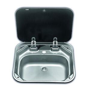 SMEV 8005 Boat Caravan Camper Sink with glass lid 420mm x 370mm      VA8005