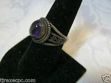 Vintage Sterling Silver Ring with Purple Stone  size 8 Jewelry