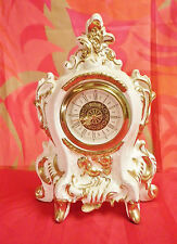Porcelain Mantel Clock in Rococo Meissen Style/ Movement by W. Germany Mercedes
