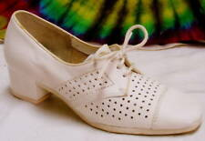 sz 6 B vtg 60s white leather lace-up oxfords shoes Nos