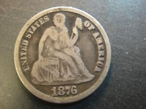 1876-CC United States Seated Liberty Silver Dime. Very Good to Fine. Toned.