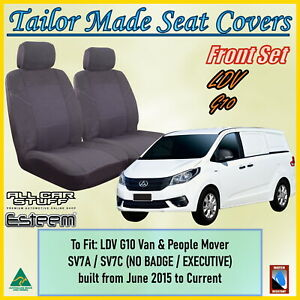 Tailor Made Grey Front Seat Covers for LDV G10 (All Models): 06/2015 to Current
