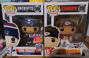 FUNKO POP NFL TOM BRADY #12 and PATRICK MAHOMES II #119 NEW IN BOX 5 SUPER PAIR