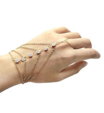 Women New Gold Multi Chain Tassel Bracelet Bangle Slave Finger Ring Hand Harness