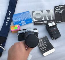 Vintage Olympus OM10 35mm Film Camera W/ 80-200mm Lens And Flash.