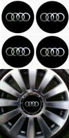 4 autocollants stickers noir chrome AUDI de 101 à 125 MM pour centre de jantes