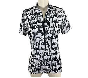 Shebeest Size Medium Top Shirt Biking Cycling Black White S cut Short Sleeve
