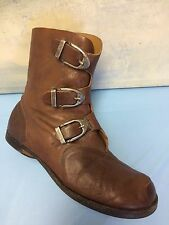 CYDWOQ Mu brown textured leather 3 buckle detail ankle boots size 39/8.5