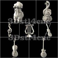 7 3D STL Models Musical Set for CNC Router Carving Machine Artcam aspire