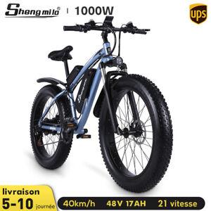 """26"""" Vélo de montagne électrique 1000W 17AH VTT 4.0 Fat tire ebike 21 vitesses EU"""