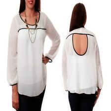 T29 Womens White Plus Size 14/16 Long Sleeves Chiffon Work Formal Blouse Tops