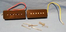 2 NEW BLACK SOAP BAR BRIDGE AND NECK GUITAR PICKUPS FOR GIBSON P-90  P 90