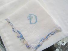 "Blue ""D"" Monogram on White Handkerchief. Multi color Crocheted Edge"
