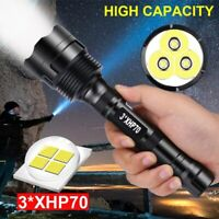 LED Powerfu Flashlight 3*XHP70 Torch Rechargeable 5 Modes Lamp Ultra Brigh