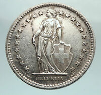 1945 SWITZERLAND - SILVER 2 Francs Coin HELVETIA Symbolizes SWISS Nation i80323