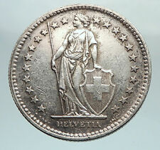 1945 SWITZERLAND - SILVER 2 Francs Coin HELVETIA Symbolizes SWISS Nation i80323