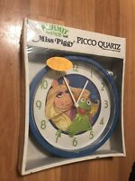 Vintage Miss Piggy & Kermit the Frog Wall Clock Henson Assoc. 1980 Picco Quartz