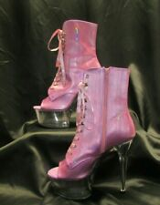 """6:"""" Pink Aspire 1021 BHG Platform Ankle Boots by Pleaser, Size 11"""
