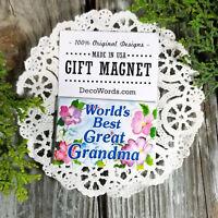 GREAT GRANDMA Cute Gift Relative Family USA DecoWords Fridge Magnet Worlds Best