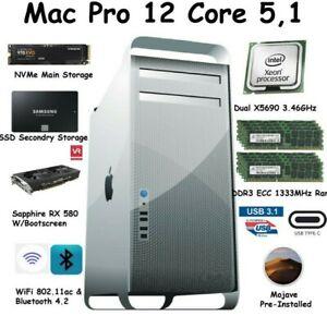 Mac Pro 12 Core 3.46GHz 128GB 1333mhz 512GB NVME 1TB SSD RX580 W/Boot-Screen