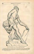 Milon de Crotone Paris musée du Louvre Groupe Marbre Pierre Puget GRAVURE 1836