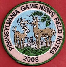 """Pa Pennsylvania Game Fish Commission NEW 4"""" 2008 Pa Game News Field Notes Patch"""