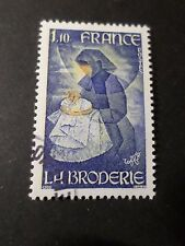 FRANCE 1980 timbre 2079, METIERS D ART, BRODERIE, oblitéré, VF cancel STAMP