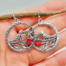 Birds Hoop Earrings Leaves Hollow Circle Branches Crystal Vintage Style