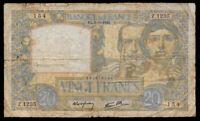 World Paper Money - France 20 Francs 1940 P92a  @ Good  Cond.