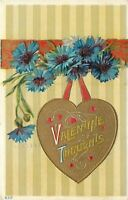 Valentine~Gold Heart Hangs From Red Banner~Blue Cornflowers~Olive Stripe~Emboss
