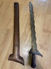 Philippine Moro Kris Sword Kalis Sundang w/Scabbard Vintage Antique Dagger Wave