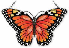 "AMIA STAINED GLASS 18.5"" X 12"" MONARCH BUTTERFLY LARGE WINDOW PANEL #42341"