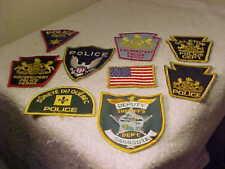 Vintage Police Patches - Lot of 9, COUDERSPORT, PA. GALETON, SARASOTA, QUEBEC