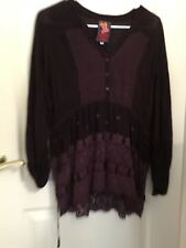 Nwot Johnny Was Long Sleeve Burgandy Blouse/Tunic preowned in great condition