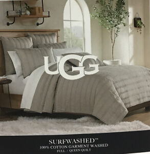 """UGG® Surfwashed Full/Queen Quilt in Oyster. 100% Cotton Garment Washed 90""""x 94"""""""