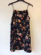 Topshop Black Floral Print Jacquard Silky Cami Dress, UK Size 10 New