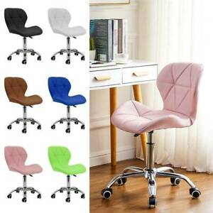 PU Cushioned Computer Desk Office Chair Chrome Legs Lift Swivel Adjustable Small